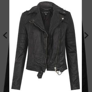 Muubaa Black Leather Minsk Quilted Biker Jacket